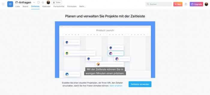 Projektverwaltung mit Zeitleiste in Asana (Screenshot: Golem.de)