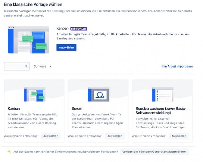 Eine Vorlage wählen in Jira (Screenshot: Golem.de)