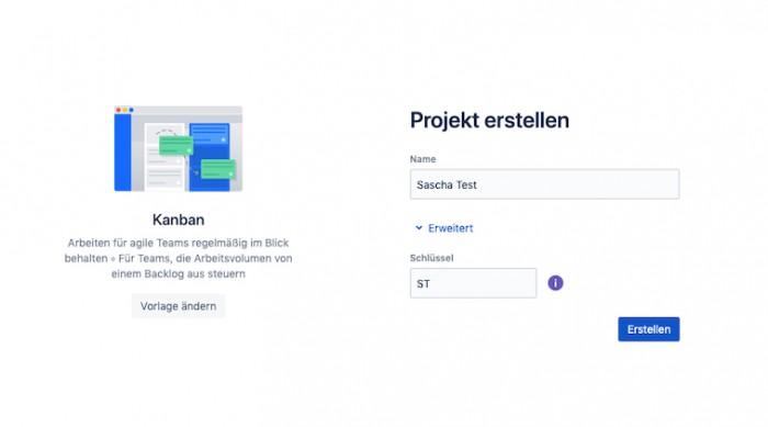 Ein Projekt erstellen in Jira (Screenshot: Golem.de)