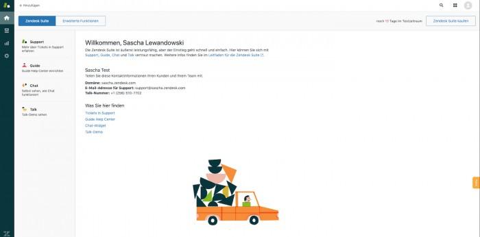 Startbildschirm bei Zendesk (Screenshot: Golem.de)