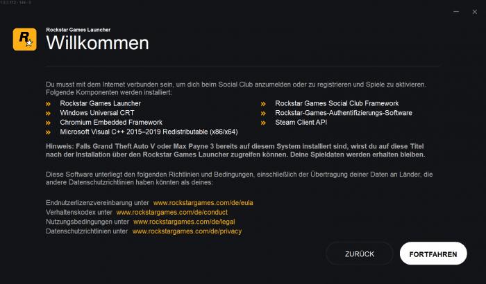Rockstar Games Launcher (Rechteinhaber: Rockstar/Screenshot: Golem.de)