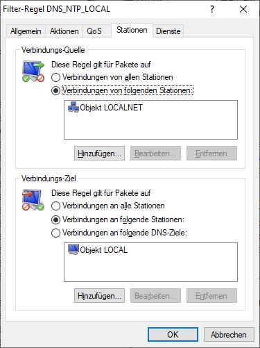 Eine typische Firewall-Regel, die auf einem Lancom-System DNS- und NTP-Anfragen aus dem lokalen Netz auf die Firewall-Appliance erlaubt (Bild: Lancom/Screenshot Golem.de)