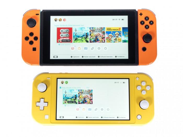 Nintendo Switch (oben) und Nintendo Switch Lite (unten) (Bild: Martin Wolf/Golem.de)