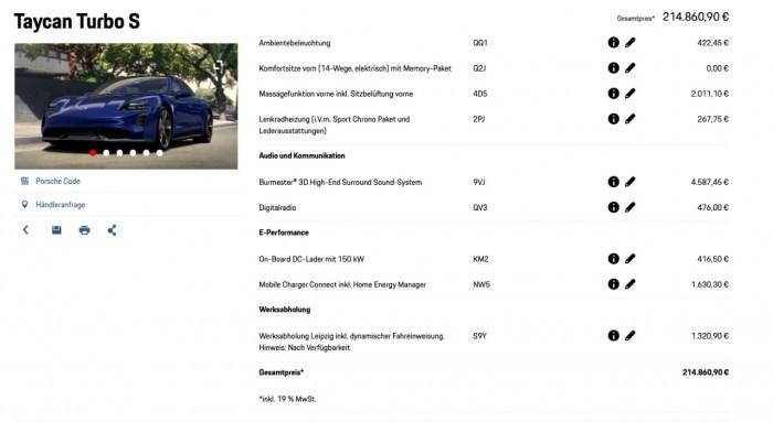 Teure Angelegenheit: Unser Wunsch-Porsche kostet knapp 215.000 Euro. (Bild: Porsche/Screenshot: Golem.de)
