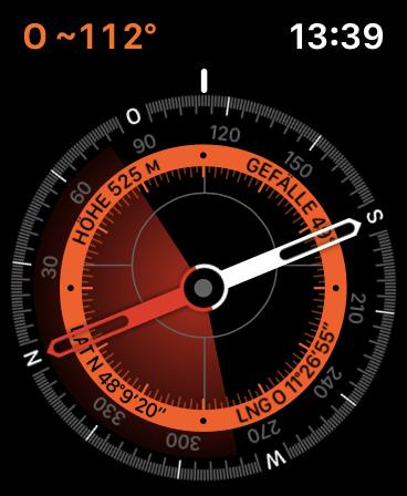 Die Apple Watch Series 5 hat nun eine eigene Kompass-App, die auch die Höhe anzeigt. (Bild: Apple/Screenshot: Golem.de)