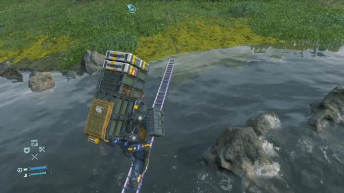 Nur mit der Leiter gelangen wir über diesen reißenden Fluss. (Bild: Kojima Productions/Screenshot: Golem.de)