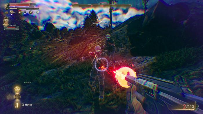 Bei abgebremster Zeit liefern wir uns einen Kampf mit Plünderern. (Bild: Private Division/Screenshot: Golem.de)
