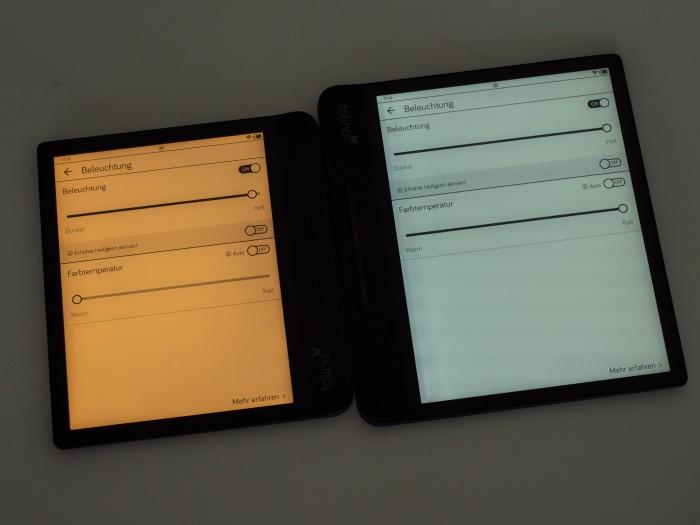 Beide Tolino-Modelle können die Farbtemperatur verändern. (Bild: Martin Wolf/Golem.de)