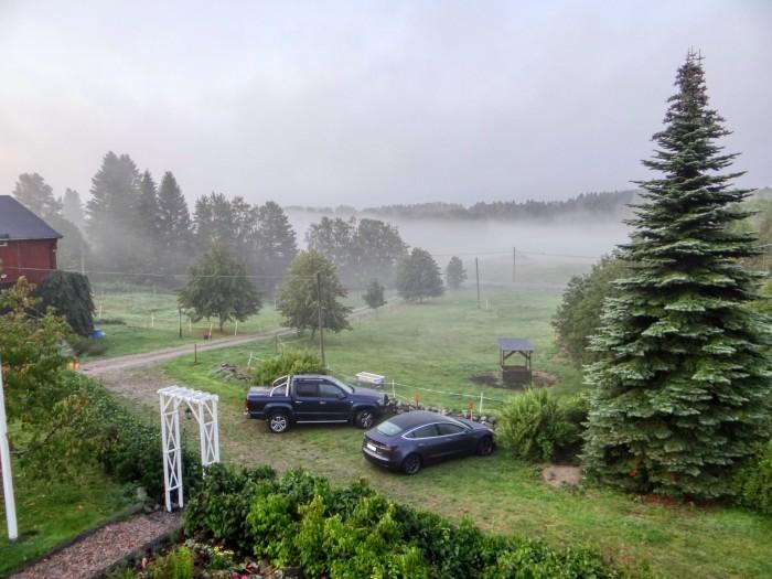 Blick aus dem Fenster meiner Unterkunft in Söråker. Diesen Ort im Dunkeln und bei Nebel zu finden, war eine echte Herausforderung. (Foto: Björn Schäfer)