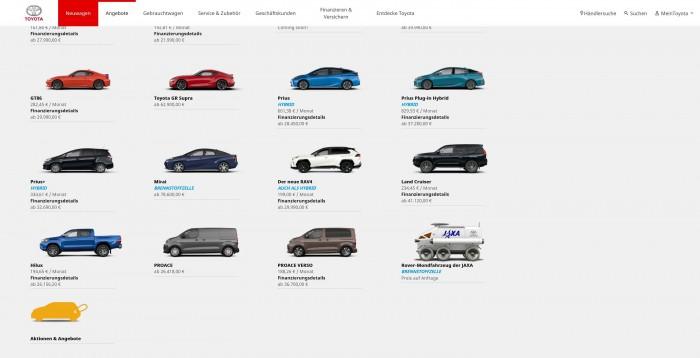 Toyotas Neuwagenübersicht mit Mondrover (Bild: Toyota/Screenshot: Golem.de)