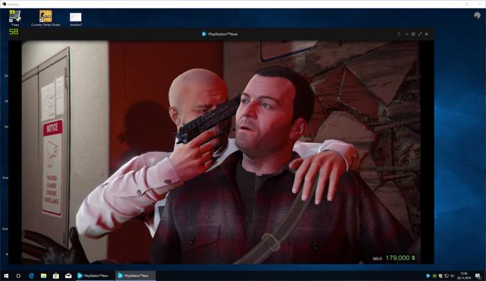 Hier läuft GTA 5 im Stream über Playstation Now auf einem Shadow-Rechner. (Bild: Sony/Screenshot: Golem.de)