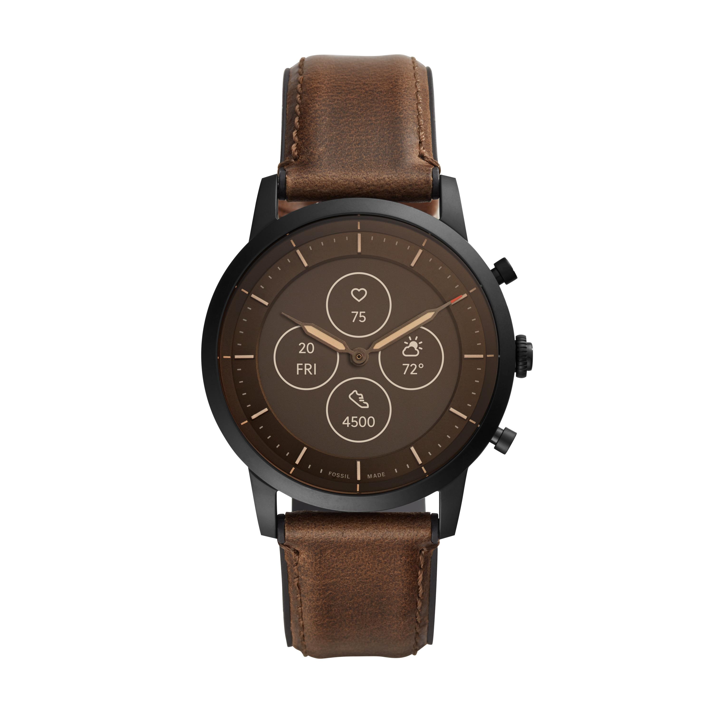 Hybrid HR: Fossil präsentiert neue Smartwatch mit Display und Zeigern - Die Fossil Hybrid HR in Braun (Bild: Fossil)