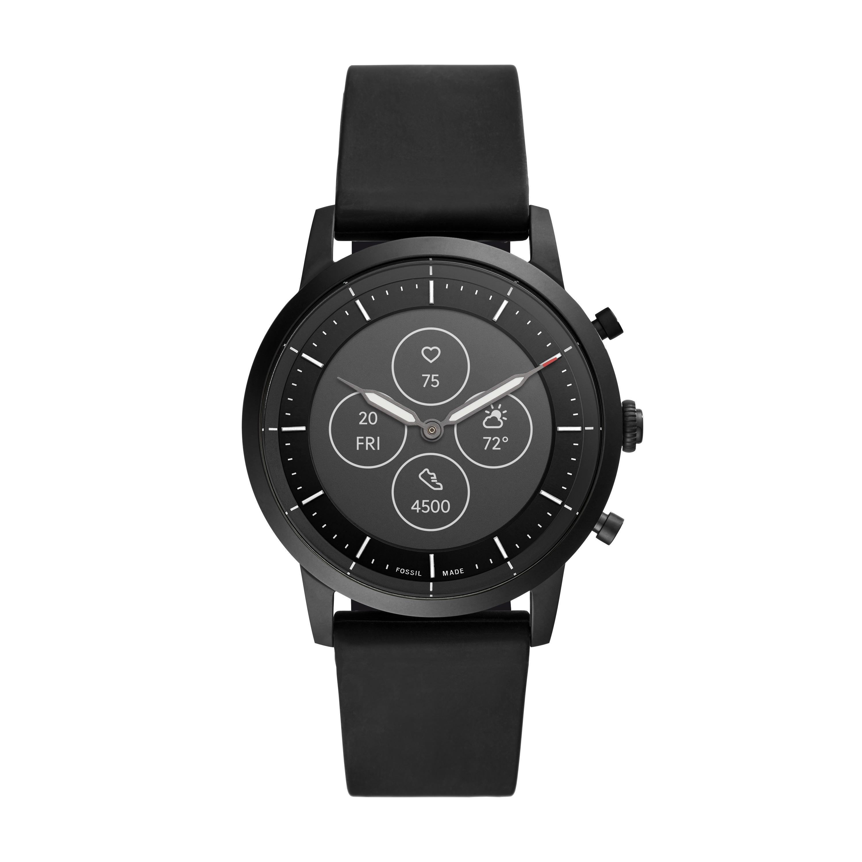 Hybrid HR: Fossil präsentiert neue Smartwatch mit Display und Zeigern - Die Fossil Hybrid HR in Schwarz (Bild: Fossil)