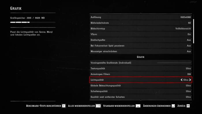 Das Grafikmenü der PC-Version von Red Dead Redemtpion 2 (Bild: Rockstar Games/Screenshot: Golem.de)
