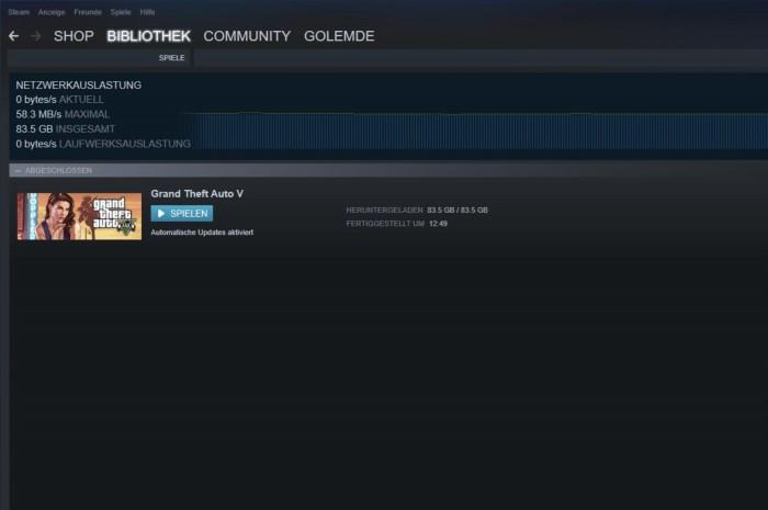 Die 83,5 GByte von GTA V brauchen trotz Gigabitanschluss fast eine Stunde. (Screenshot: Golem.de)