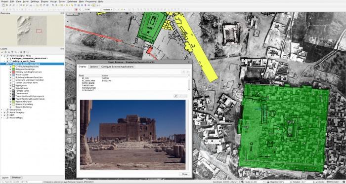 Historische und aktuelle Fotos sowie moderne Vermessungsdaten und fließen in dem System zusammen, um Entwicklung und Zustand von Palmyra möglichst vollständig zu dokumentieren. (Bild: DAI/IfPO)