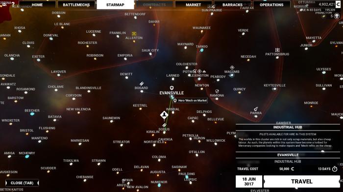 Nur ein Ausschnitt der Weltkarte ist schon riesig. (Bild: Piranha Games/Screenshot: Oliver Nickel/Golem.de)