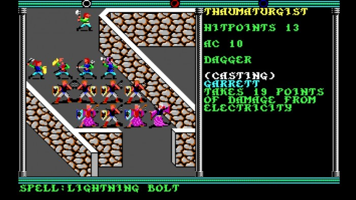 Der taktische Kampfbildschirm besteht aus klassischen Kästchen, in denen man seine Helden rundenweise bewegt. Die übertrieben schräg gezeichneten Wände konnten grafisch allerdings schon 1990 nicht überzeugen. (Bild: SSI/Screenshot: Medienagentur plassma)