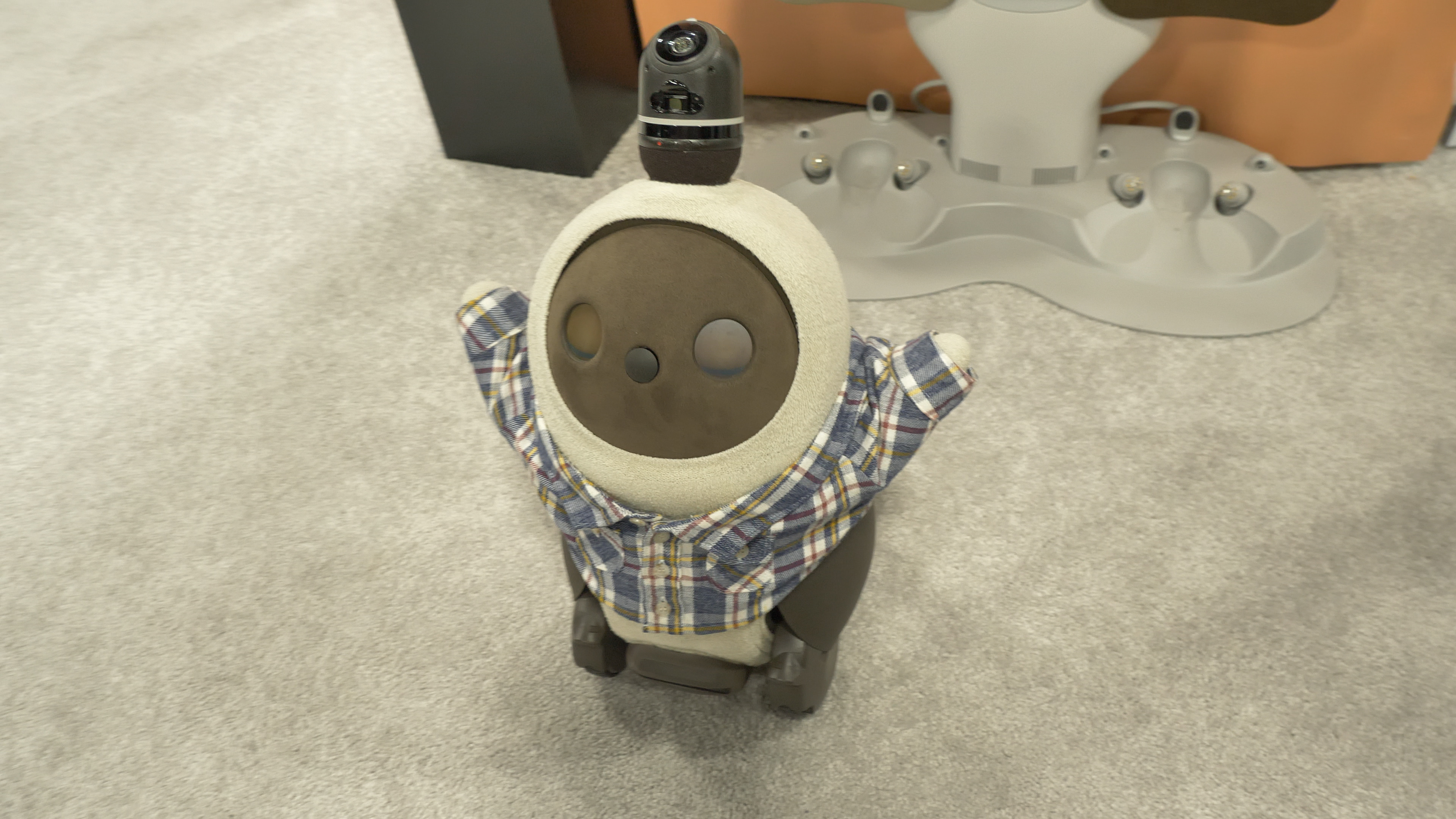 Lovot im Hands-on: Knuddeliger geht ein Roboter kaum - Nachdem Lovot aufgewacht ist, streckt sich der kleine Roboter erst einmal. (Bild: Martin Wolf/Golem.de)