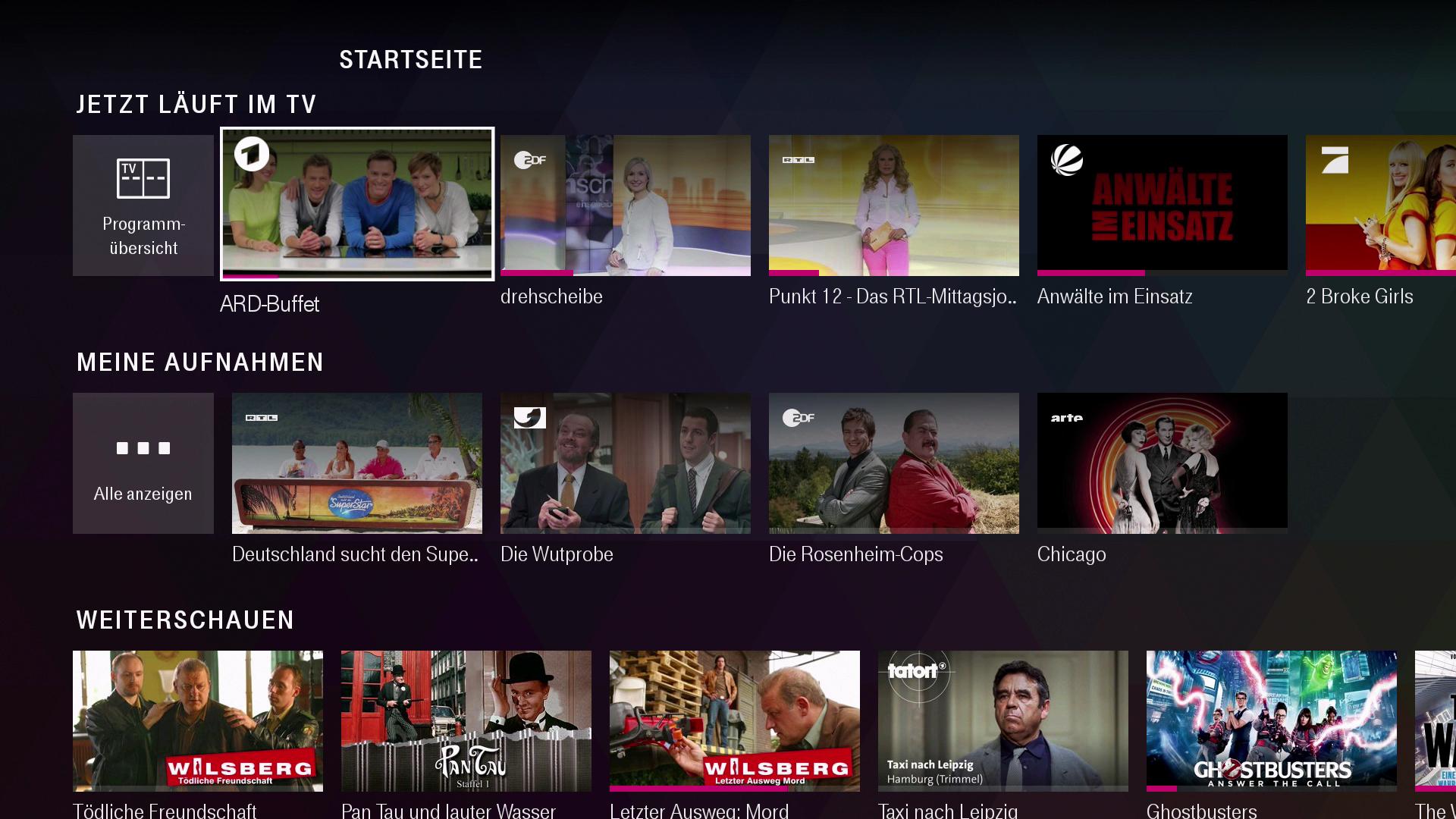 Verkauf des Magenta-TV-Stick: Magenta TV und Disney+ jeweils drei Monate kostenlos - Auf der Startseite von Magenta TV befinden sich die letzten Aufnahmen sowie die zuletzt angesehenen Inhalte. (Bild: Ingo Pakalski/Golem.de)