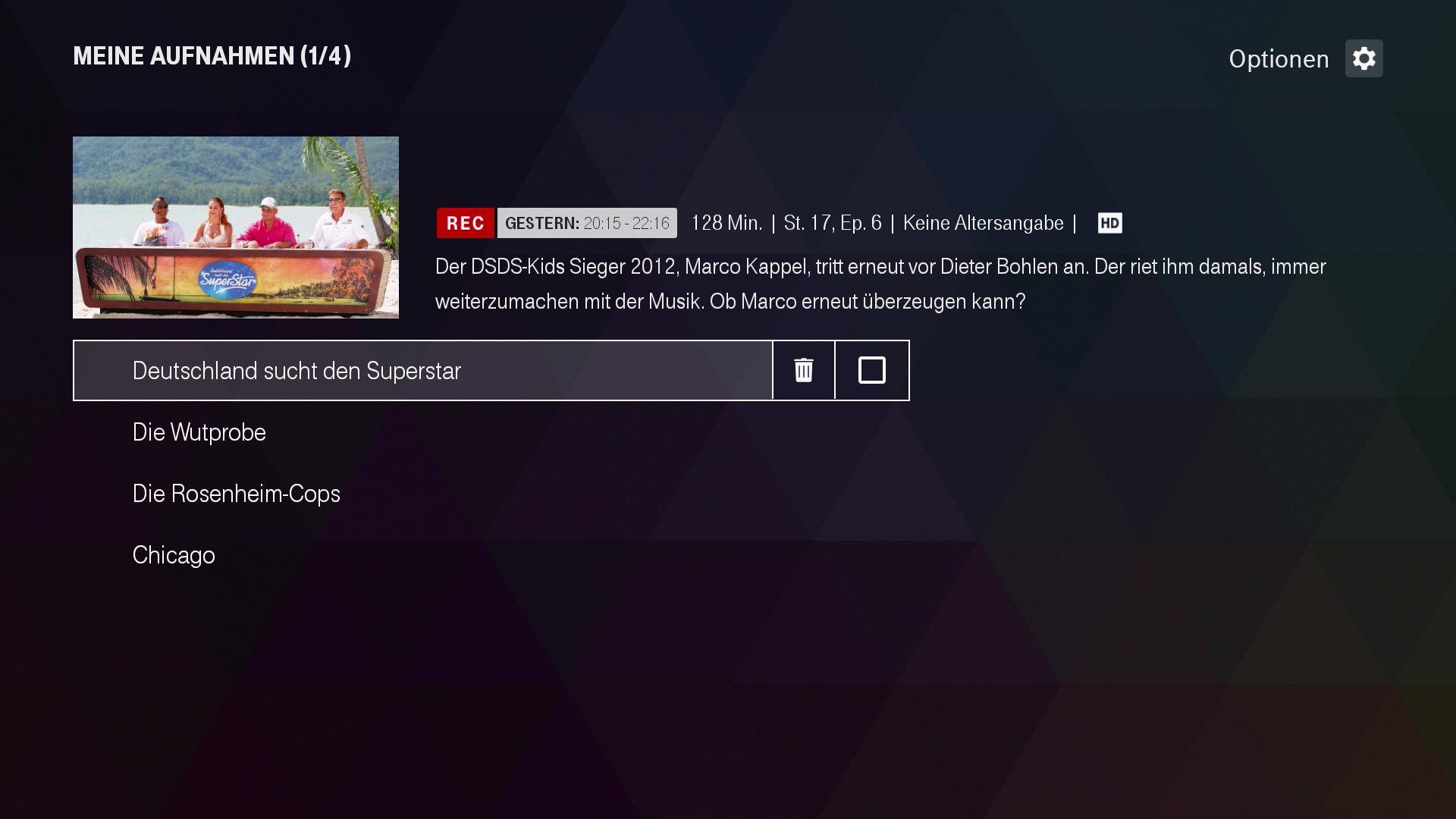 Verkauf des Magenta-TV-Stick: Magenta TV und Disney+ jeweils drei Monate kostenlos - Magenta-TV-Aufnahmen lassen sich auf dem Stick verwalten, aber nicht aufnehmen. (Bild: Ingo Pakalski/Golem.de)