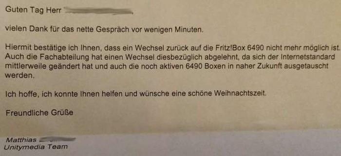 Unitymedia lehnt eine Rückkehr zur Fritzbox 6490 definitiv ab. (Screenshot: Günther Born)
