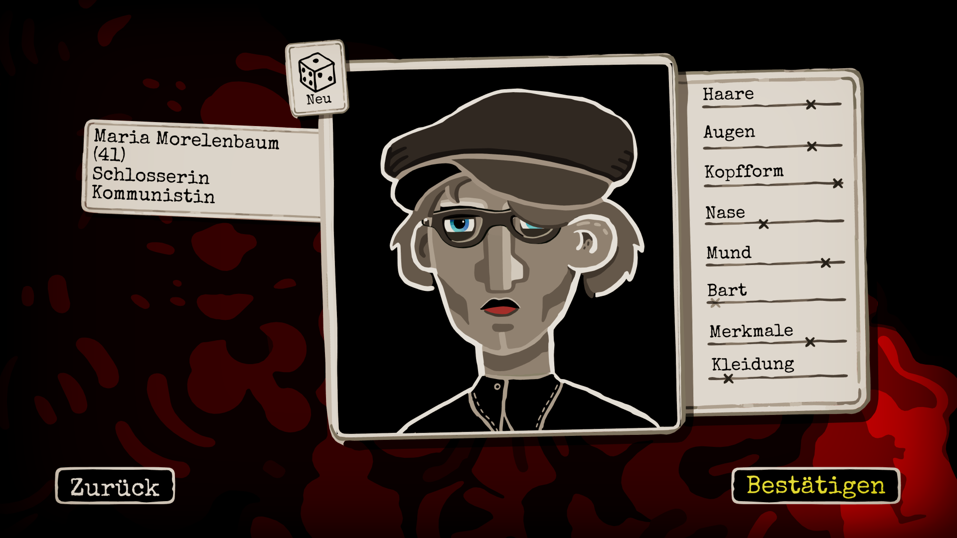 Through the Darkest of Times im Test: Widerstand ist nicht sinnlos! - Maria und andere Hauptfiguren erstellen wir im Charaktereditor. (Bild: Paintbucket Games/Screenshot: Golem.de)