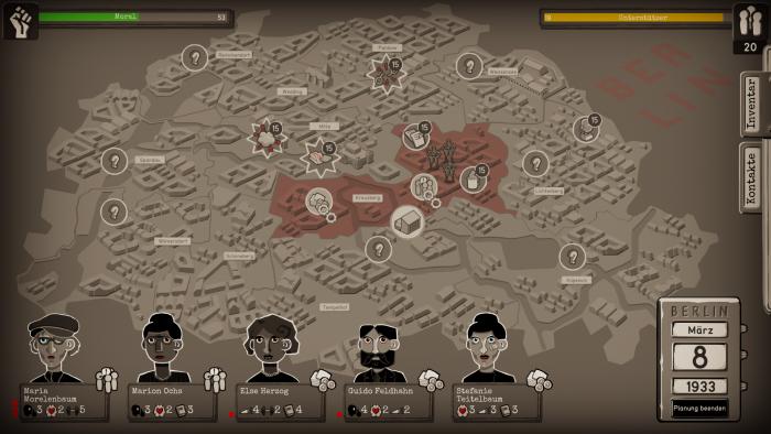 Auf der Übersichtskarte planen wir die nächsten Einsätze. (Bild: Paintbucket Games/Screenshot: Golem.de)