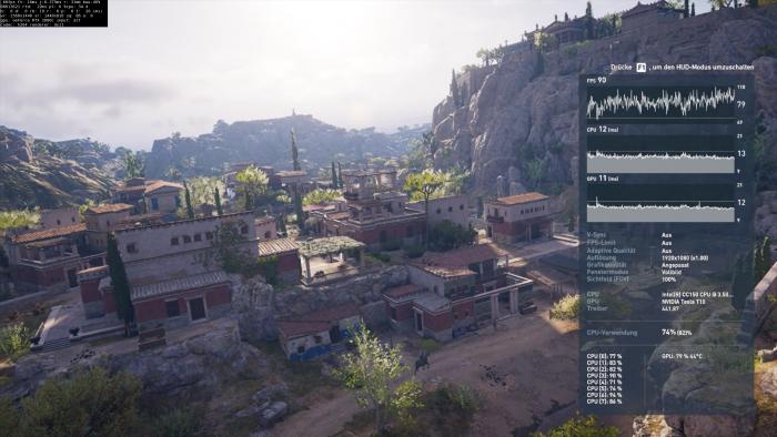 Bei Assassin's Creed Odyssey wird eine RTX 2080c alias Tesla RTX T10 mit 16 GByte verwendet. (Rechteinhaber: Ubisoft/Screenshot: Golem.de)
