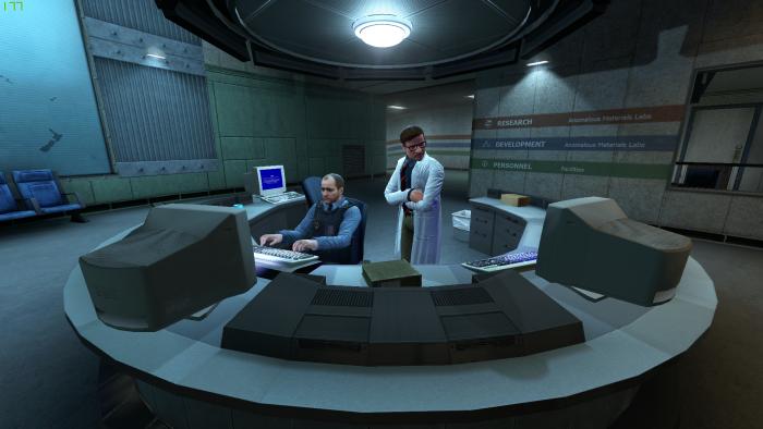 Am Anfang ist alles friedlich in der Forschungsstation Black Mesa. (Bild: Crowbar Collective/Screenshot: Golem.de)