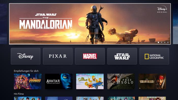 Startbildschirm von Disney+ auf einem Smart TV (Bild: Disney+)