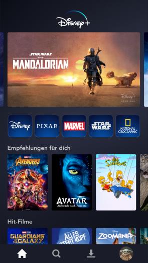 Startbildschirm von Disney+ auf einem Smartphone (Bild: Disney+)