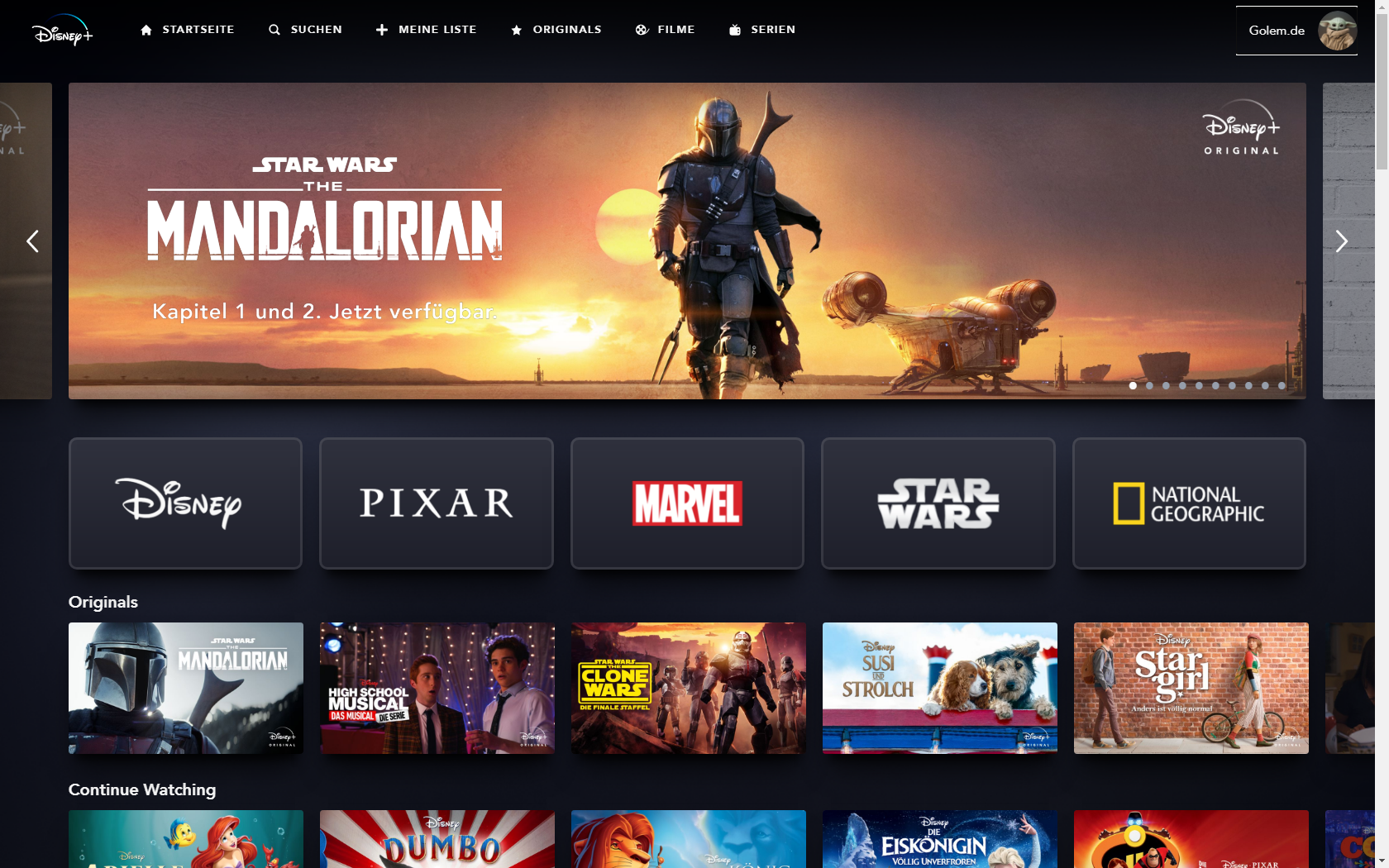 Konkurrenz für Netflix und Prime Video: Disney nennt Filme und Serien für Disney+ in Deutschland - Hauptbildschirm von Disney+ (Bild: Disney+/Screenshot: Golem.de)