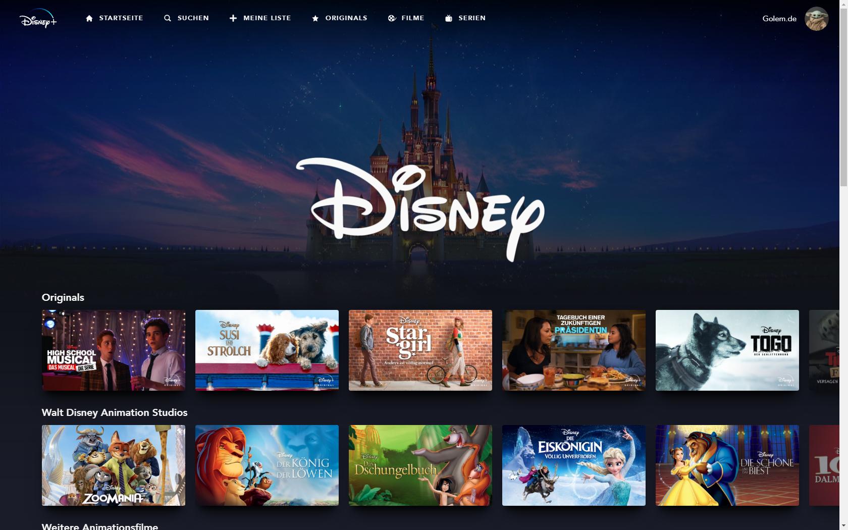Konkurrenz für Netflix und Prime Video: Disney nennt Filme und Serien für Disney+ in Deutschland - Disney-Rubrik bei Disney+ (Bild: Disney+/Screenshot: Golem.de)
