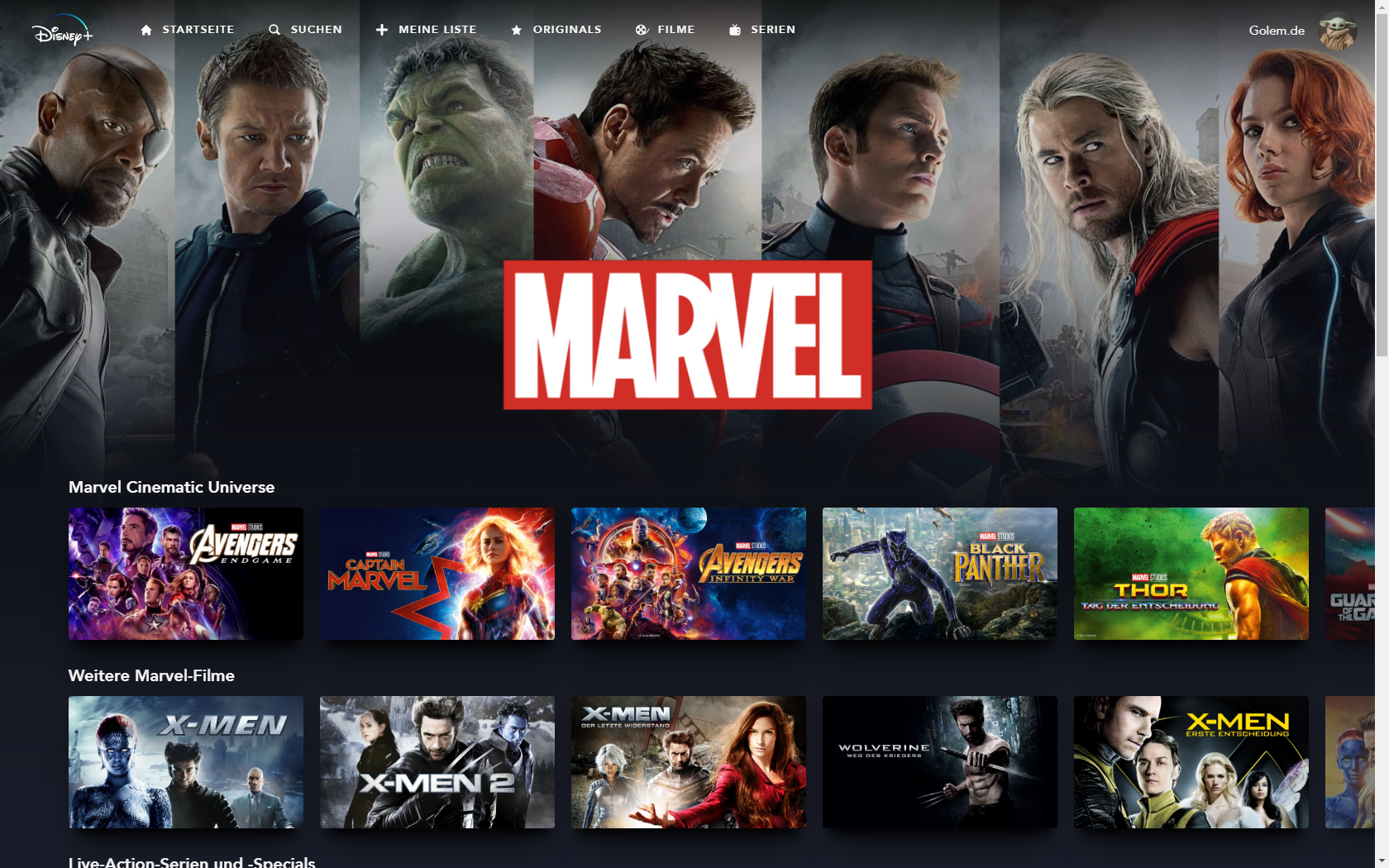 Konkurrenz für Netflix und Prime Video: Disney nennt Filme und Serien für Disney+ in Deutschland - Marvel-Rubrik bei Disney+ (Bild: Disney+/Screenshot: Golem.de)