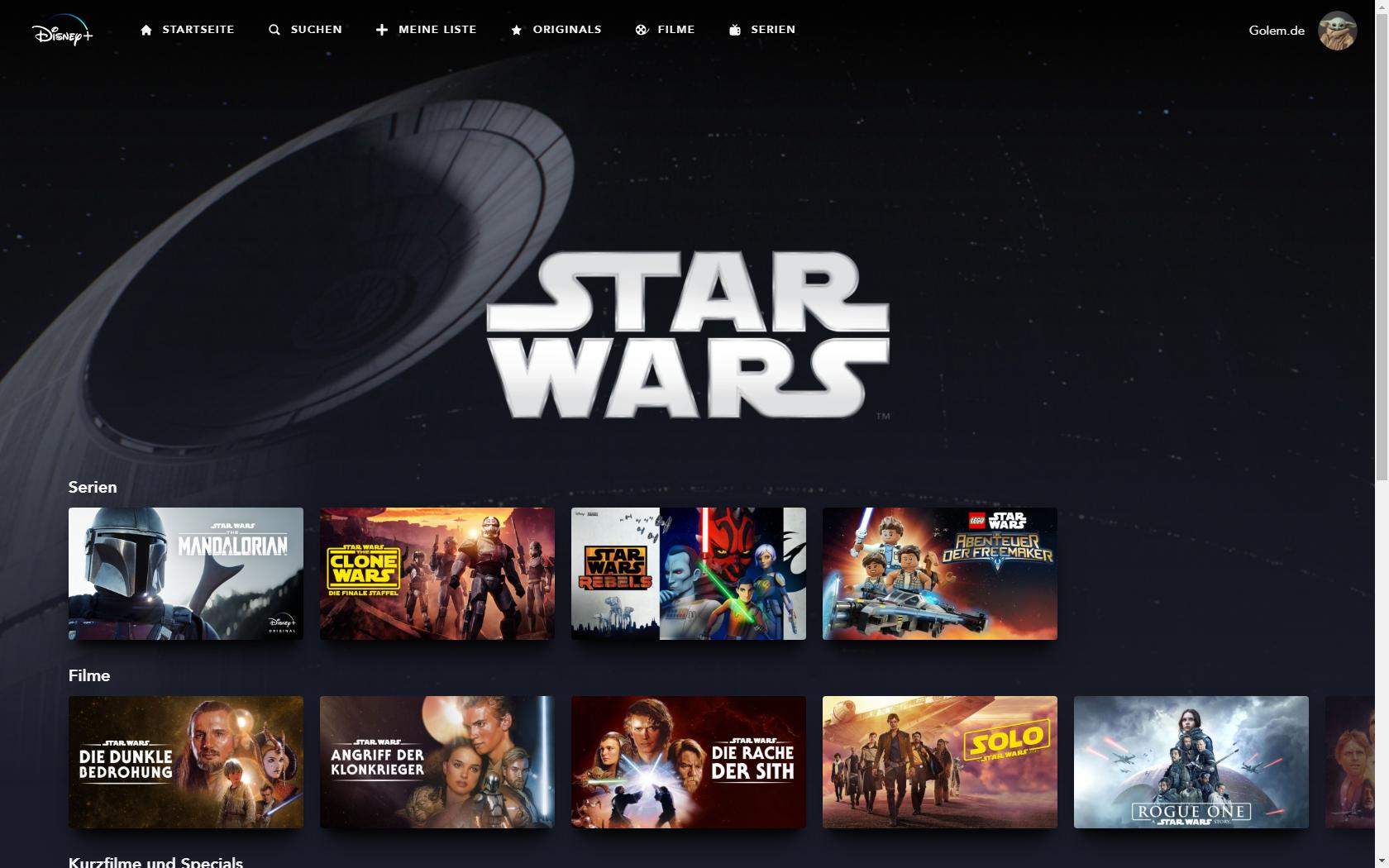 Konkurrenz für Netflix und Prime Video: Disney nennt Filme und Serien für Disney+ in Deutschland - Star-Wars-Rubrik bei Disney+ (Bild: Disney+/Screenshot: Golem.de)