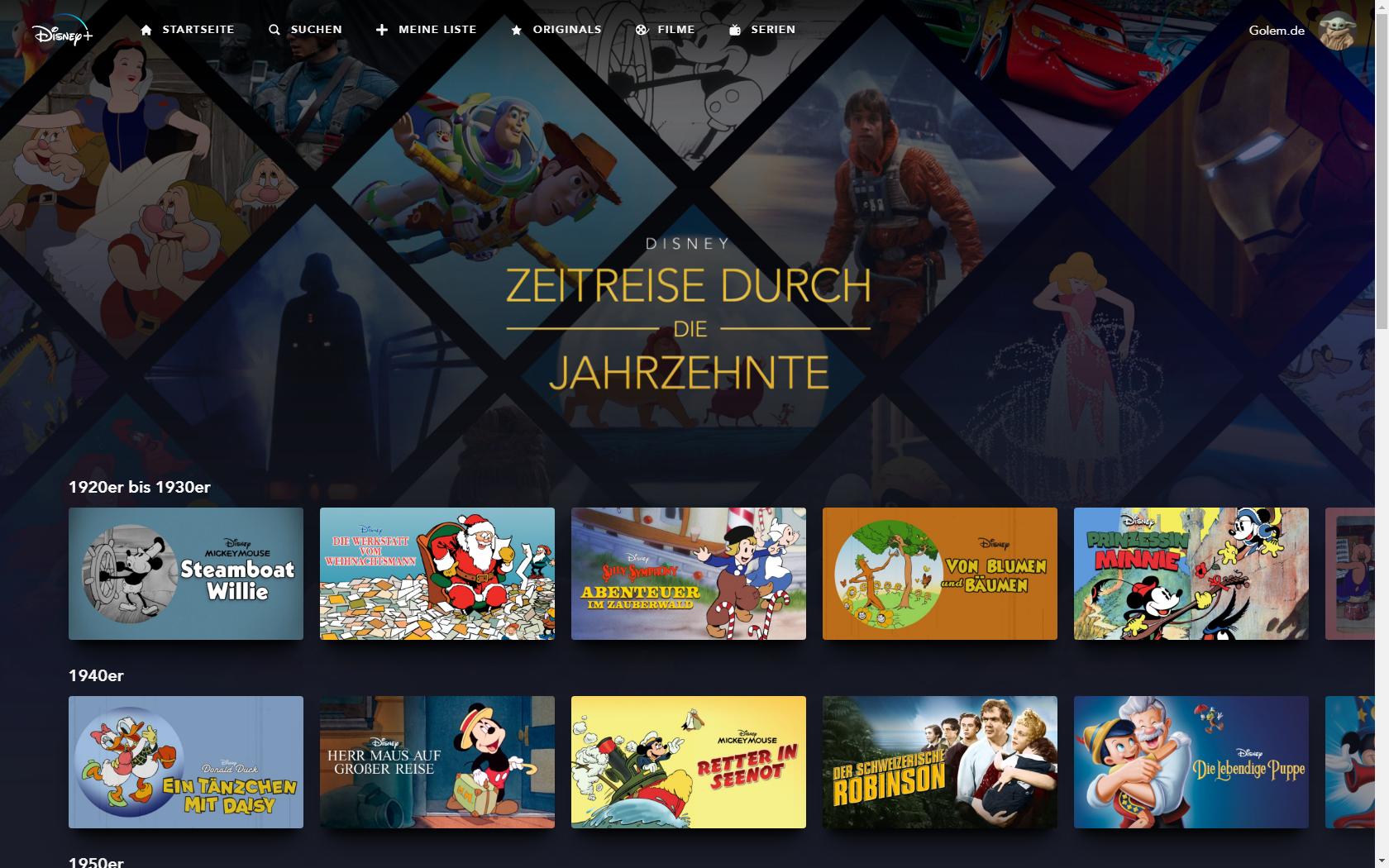 Konkurrenz für Netflix und Prime Video: Disney nennt Filme und Serien für Disney+ in Deutschland - Inhalte von Disney+ nach Jahrzehnten sortiert - Filme und Serien munter gemischt (Bild: Disney+/Screenshot: Golem.de)