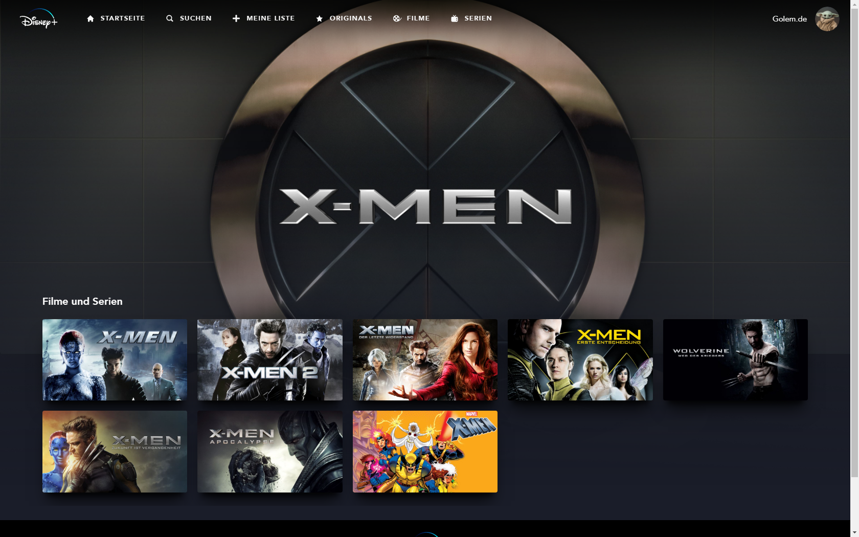 Konkurrenz für Netflix und Prime Video: Disney nennt Filme und Serien für Disney+ in Deutschland - X-Men-Kollektion bei Disney+ (Bild: Disney+/Screenshot: Golem.de)