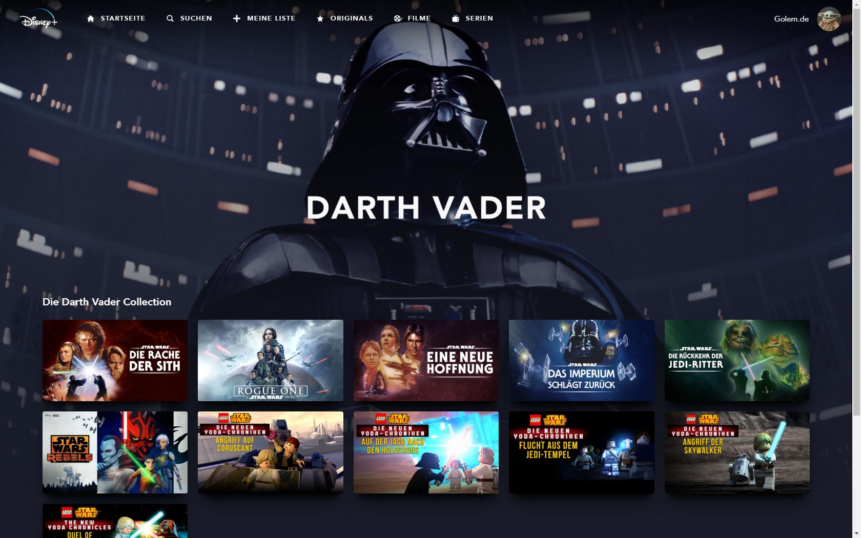 Konkurrenz für Netflix und Prime Video: Disney nennt Filme und Serien für Disney+ in Deutschland - Darth-Vader-Kollektion bei Disney+ (Bild: Disney+/Screenshot: Golem.de)