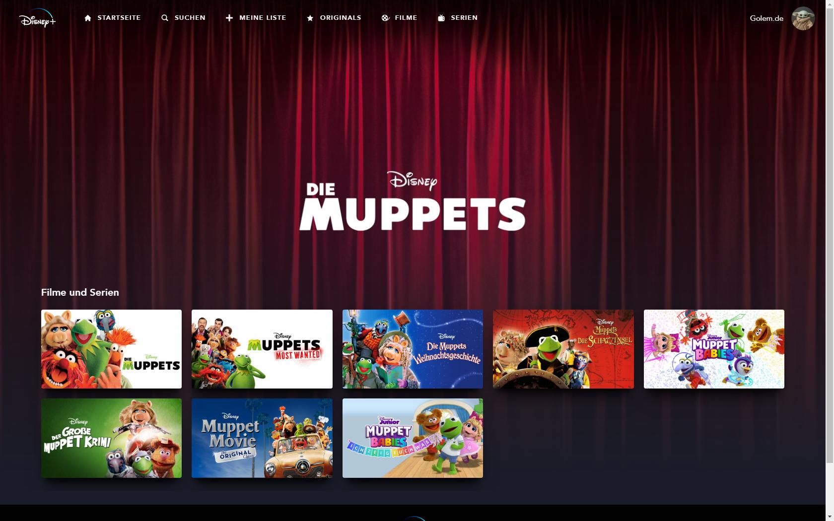 Konkurrenz für Netflix und Prime Video: Disney nennt Filme und Serien für Disney+ in Deutschland - Muppets-Kollektion bei Disney+ (Bild: Disney+/Screenshot: Golem.de)