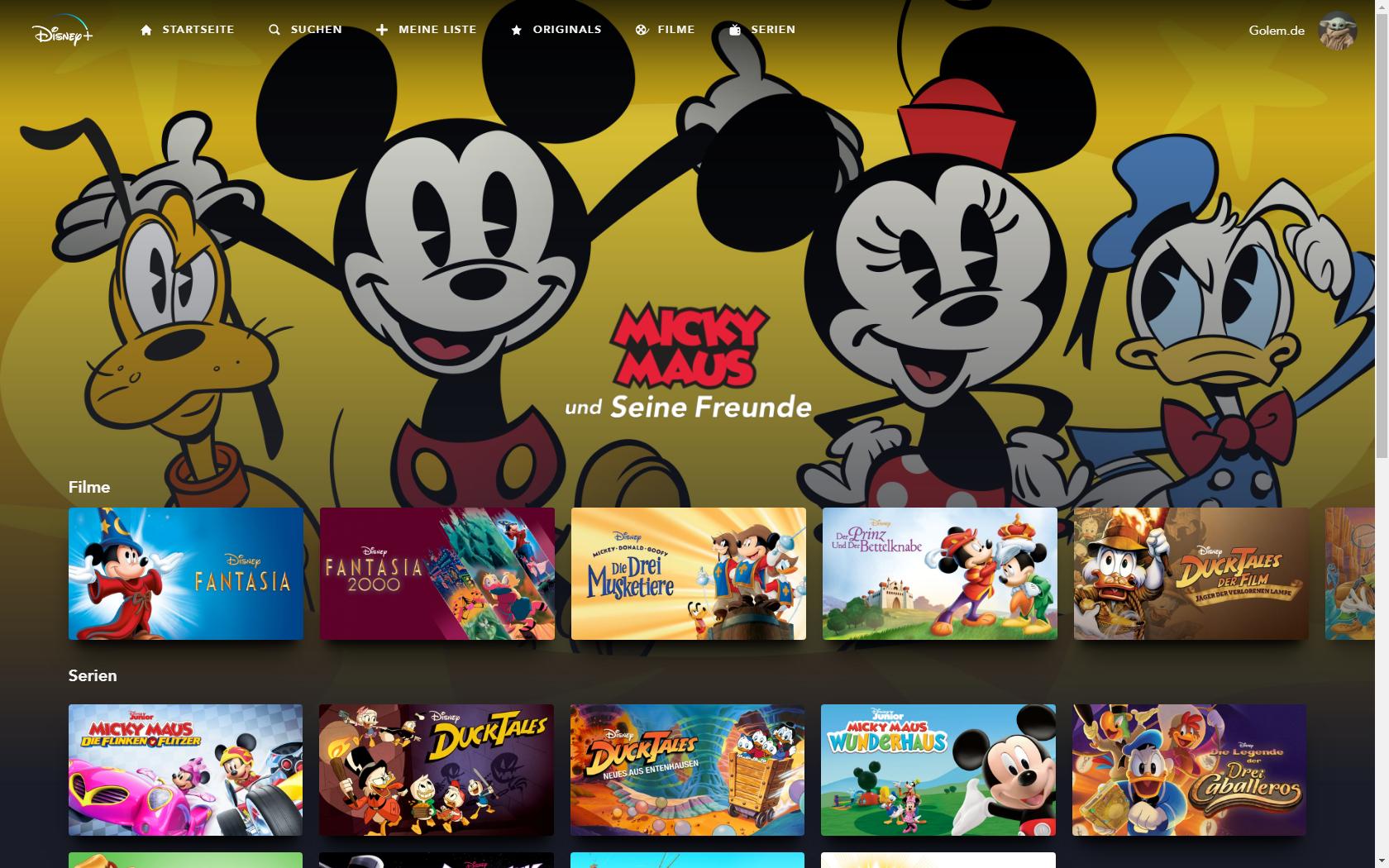 Konkurrenz für Netflix und Prime Video: Disney nennt Filme und Serien für Disney+ in Deutschland - Kollektion zu Micky Maus bei Disney+ (Bild: Disney+/Screenshot: Golem.de)