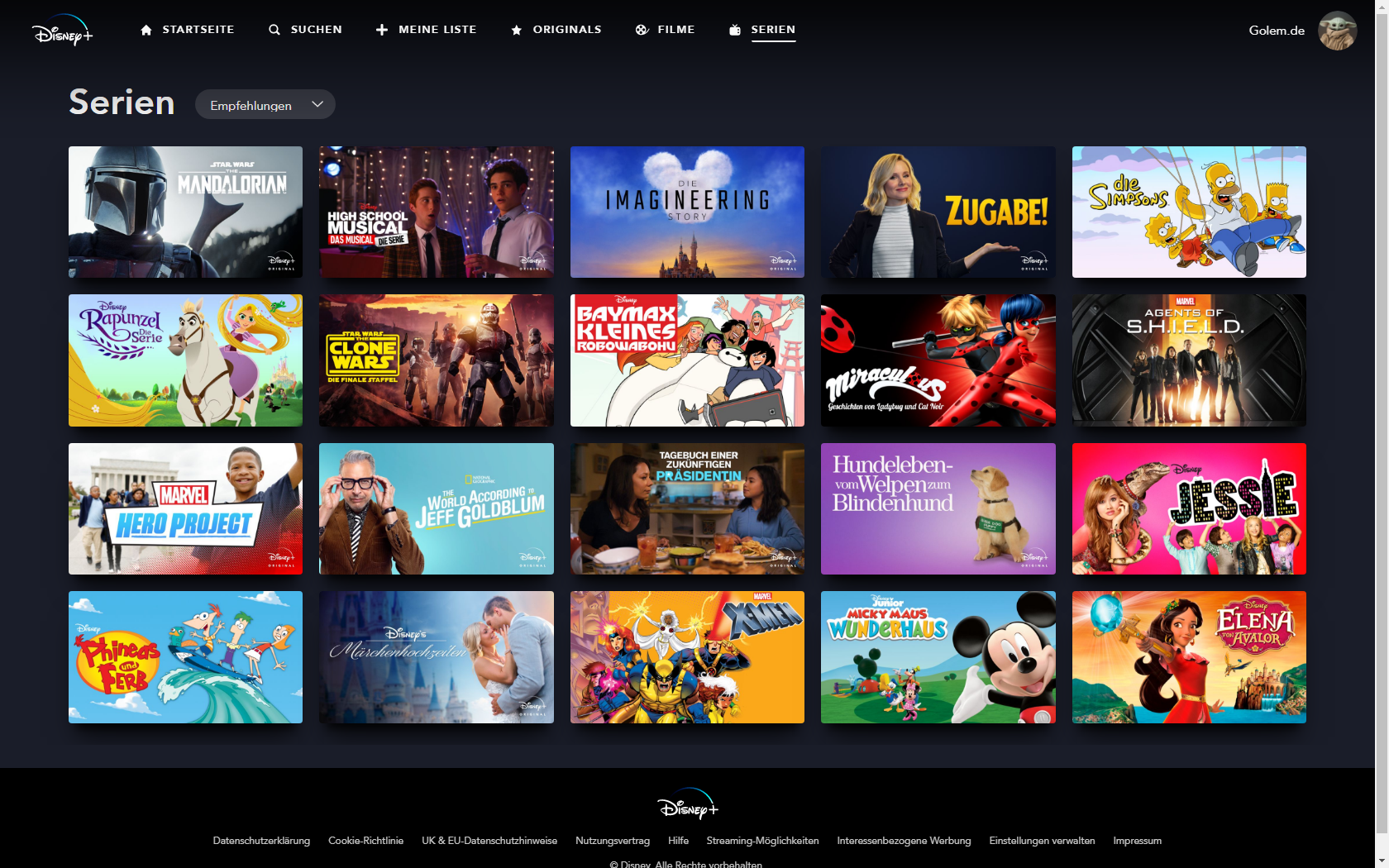 Konkurrenz für Netflix und Prime Video: Disney nennt Filme und Serien für Disney+ in Deutschland - Serienrubrik bei Disney+ (Bild: Disney+/Screenshot: Golem.de)