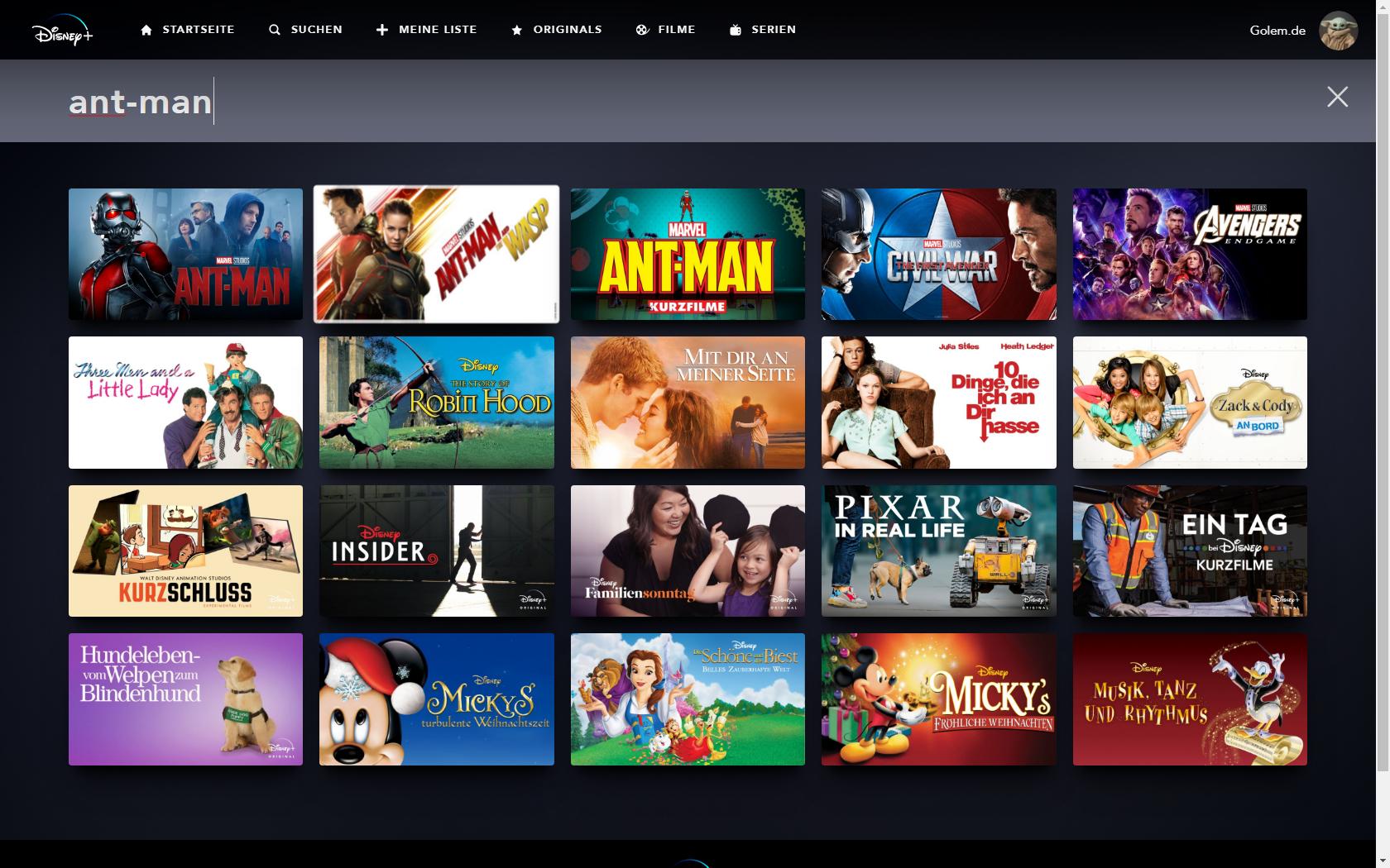 Konkurrenz für Netflix und Prime Video: Disney nennt Filme und Serien für Disney+ in Deutschland - In der Suche von Disney+ ist nicht erkennbar, dass Ant-Man and the Wasp noch nicht angeschaut werden kann. (Bild: Disney+/Screenshot: Golem.de)