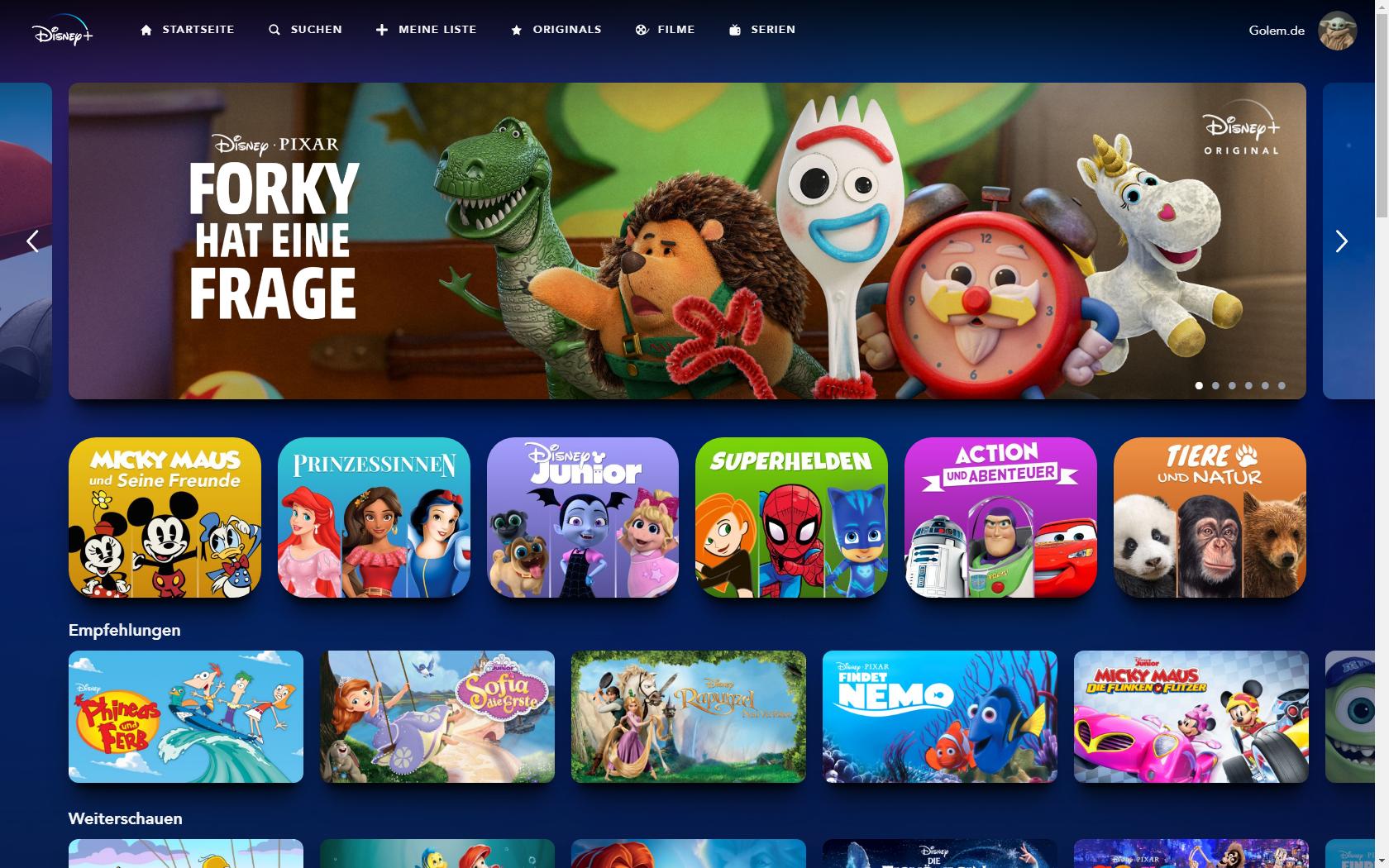Konkurrenz für Netflix und Prime Video: Disney nennt Filme und Serien für Disney+ in Deutschland - So sieht Disney+ mit Kinderprofil aus. (Bild: Disney+/Screenshot: Golem.de)