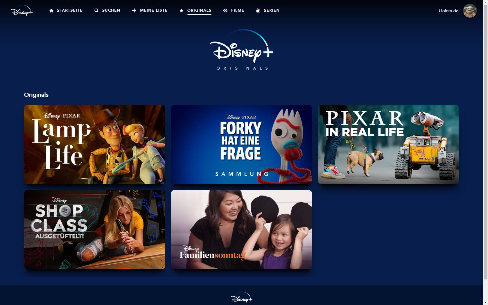 Konkurrenz für Netflix und Prime Video: Disney nennt Filme und Serien für Disney+ in Deutschland - Originals von Disney+ mit Kinderprofil (Bild: Disney+/Screenshot: Golem.de)