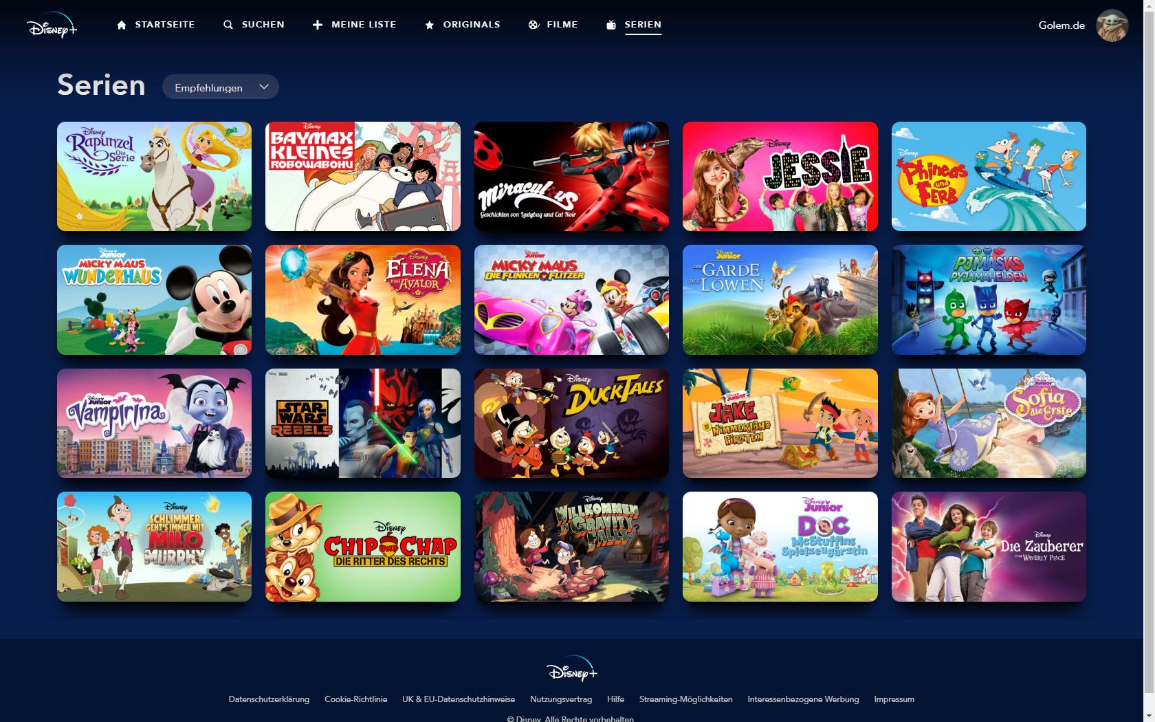 Konkurrenz für Netflix und Prime Video: Disney nennt Filme und Serien für Disney+ in Deutschland - Serien bei Disney+ mit Kinderprofil (Bild: Disney+/Screenshot: Golem.de)