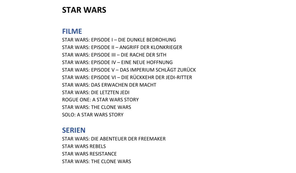 Konkurrenz für Netflix und Prime Video: Disney nennt Filme und Serien für Disney+ in Deutschland - Diese Filme und Serien aus dem Star-Wars-Sortiment wird es bei Disney+ geben - Auswahl. (Bild: Disney)