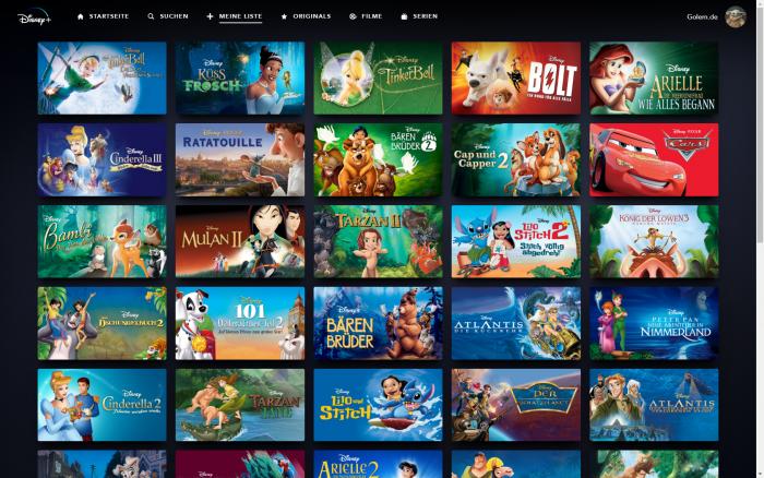Die Merkliste von Disney+ fasst maximal 50 Einträge. (Bild: Disney+/Screenshot: Golem.de)