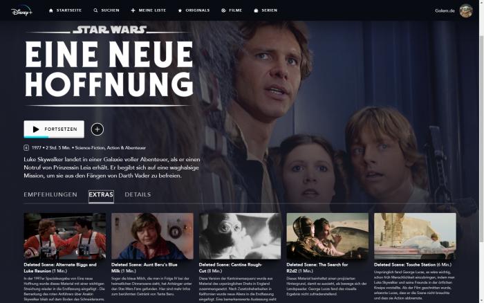 Bonusmaterial für den ersten Star-Wars-Film bei Disney+ (Bild: Disney+/Screenshot: Golem.de)