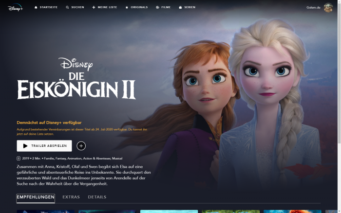 Die Eiskönigin 2 kommt im Juli 2020 zu Disney+. (Bild: Disney+/Screenshot: Golem.de)
